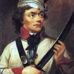 Patron szkoły. Kolorowy portret Tadeusza Kościuszki.