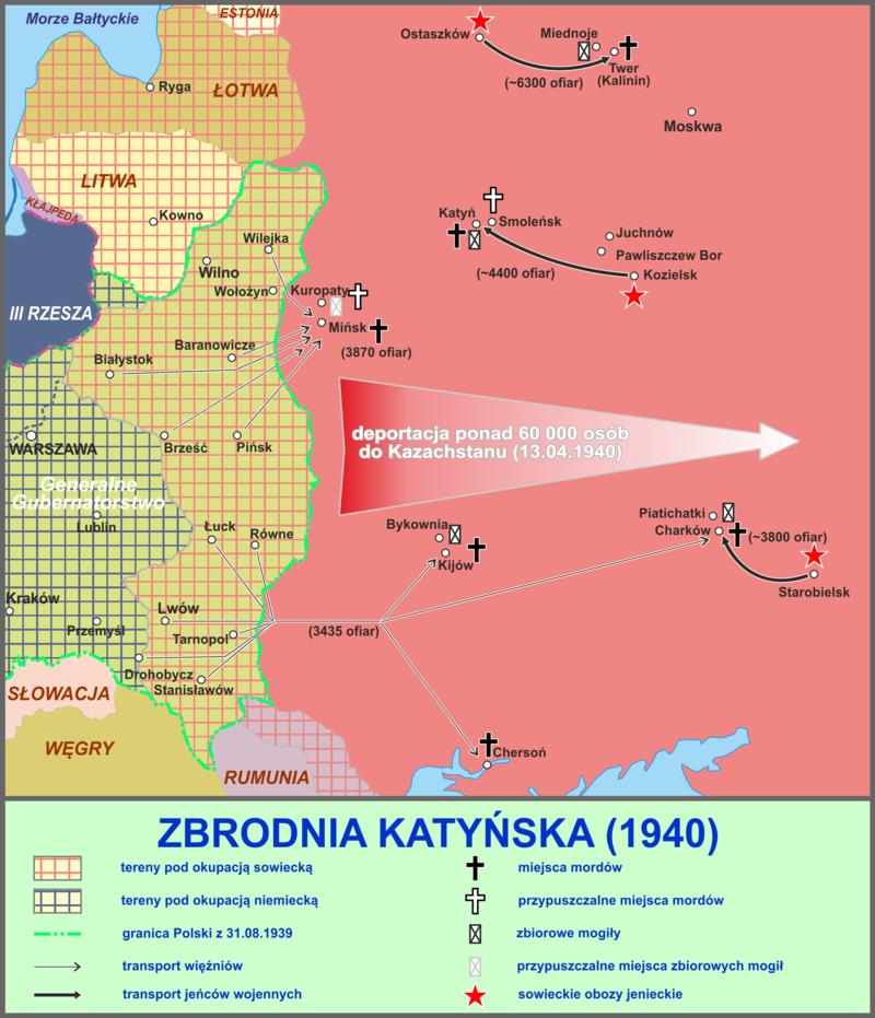 Zbrodnia katyńska - mapa miejsc mordów.