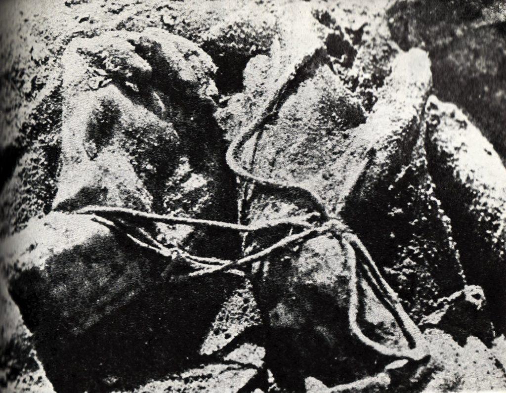 Czarno-białe zdjęcie związanych rąk ofiary mordu katyńskiego.