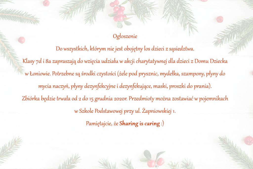 Ogłoszenie o zbiórce charytatywnej w postaci kartki świątecznej.